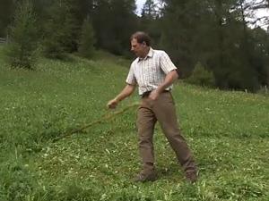 Bildaufnahme aus einer Videoproduktion des LFI - Sensenmähen mit Hand-Sense