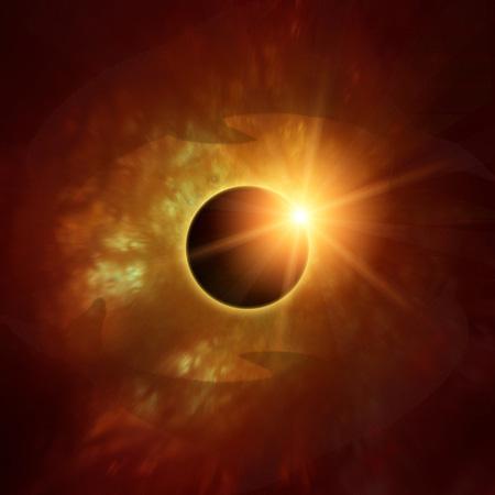 Korona der Sonne hinter Mond (?)