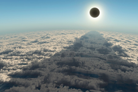 Korona der Sonne, über den Wolken aufgenommen