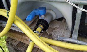 Wasserauslass am IBC-Wassertank