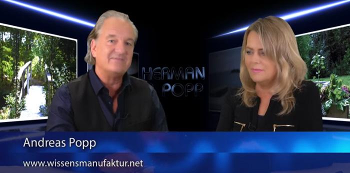 Video-Screenshot aus der Wissensmanufatur: Andreas Popp und Eva Herman im Gespräch