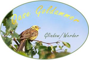 Label unserer 'Oase Goldammer' mit dem Singvogel als Hauptmotiv